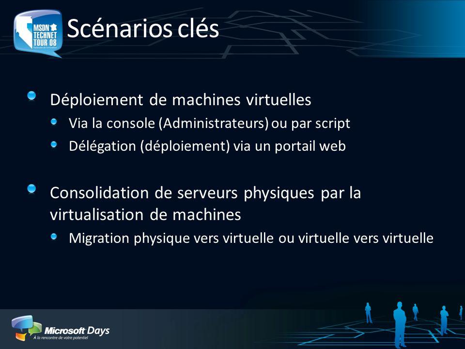 Déploiement de VM et consolidation de serveurs Déploiement rapide de machine virtuelle Mode assisté via un assistant Modèle de VM - VM Sysprépé et profil matériel Clonage de VM existante Prise en compte des performances de la plateforme Définition des limites par plateforme x64, SMP virtuelle, etc.