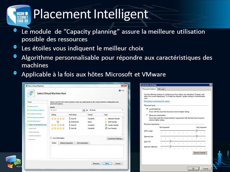 Placement Intelligent Le module de Capacity planning assure la meilleure utilisation possible des ressources Les étoiles vous indiquent le meilleur ch