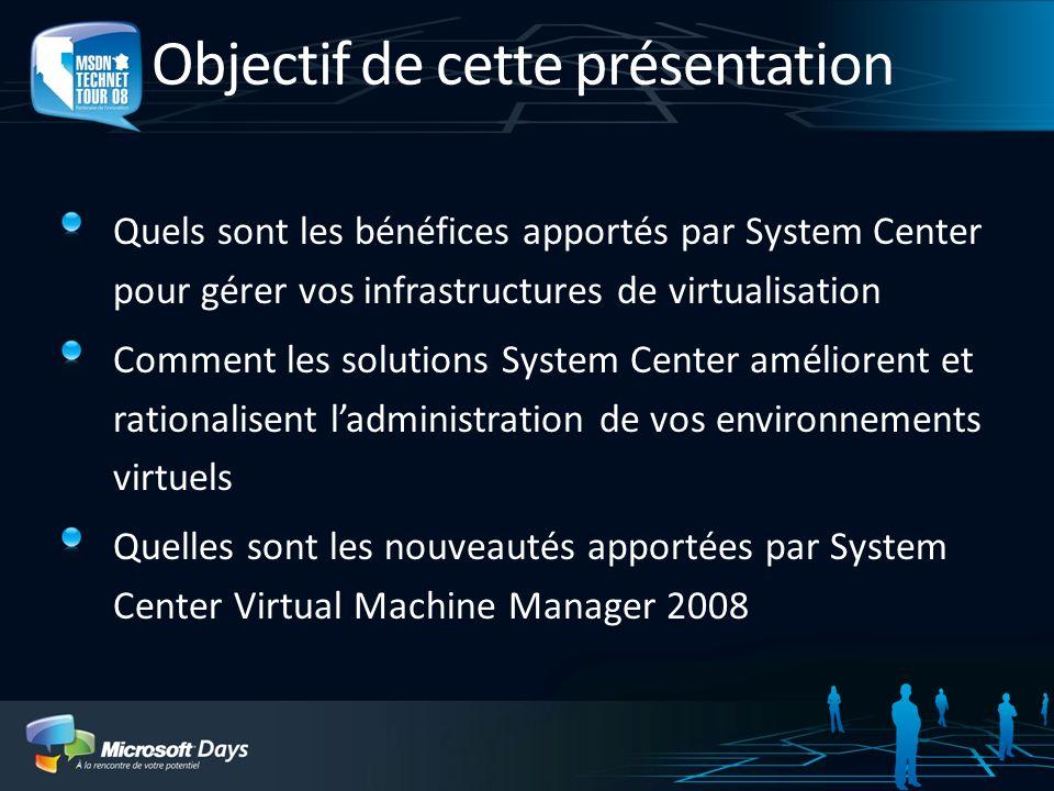 Objectif de cette présentation Quels sont les bénéfices apportés par System Center pour gérer vos infrastructures de virtualisation Comment les soluti