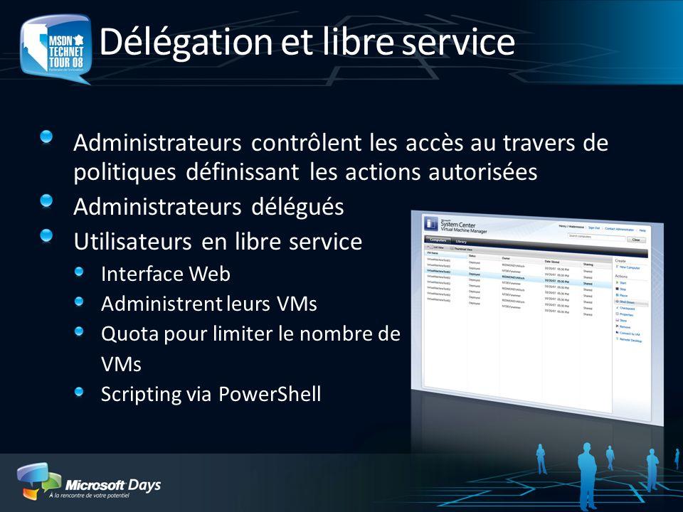 Délégation et libre service Administrateurs contrôlent les accès au travers de politiques définissant les actions autorisées Administrateurs délégués