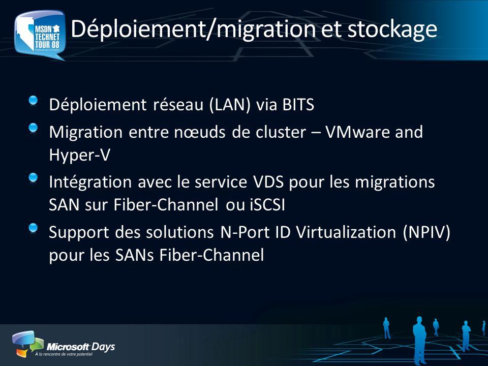 Déploiement/migration et stockage Déploiement réseau (LAN) via BITS Migration entre nœuds de cluster – VMware and Hyper-V Intégration avec le service