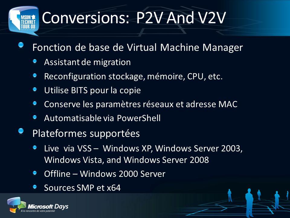 Conversions: P2V And V2V Fonction de base de Virtual Machine Manager Assistant de migration Reconfiguration stockage, mémoire, CPU, etc. Utilise BITS