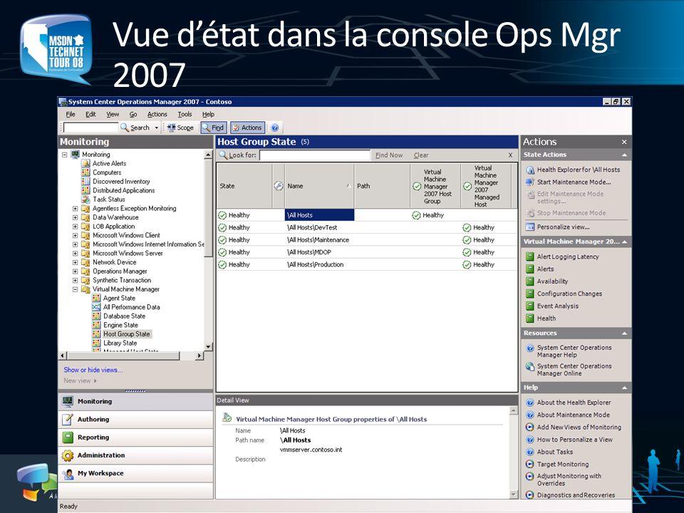 Vue détat dans la console Ops Mgr 2007