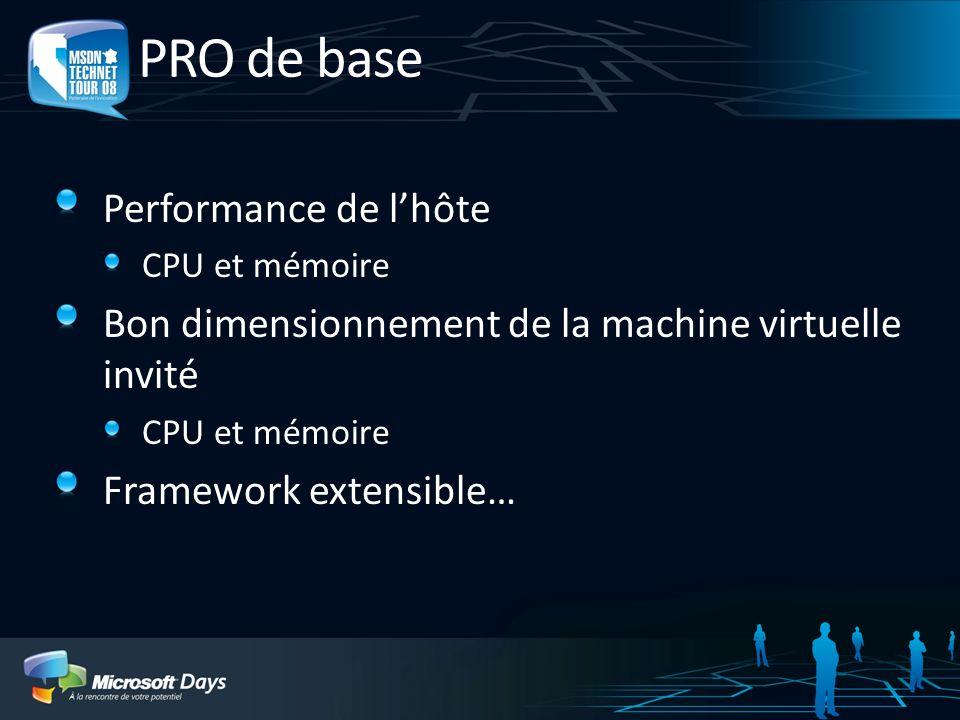 PRO de base Performance de lhôte CPU et mémoire Bon dimensionnement de la machine virtuelle invité CPU et mémoire Framework extensible…