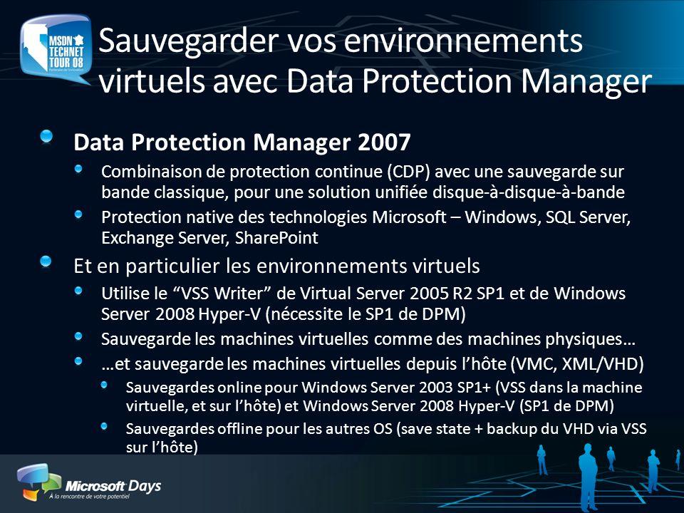Sauvegarder vos environnements virtuels avec Data Protection Manager Data Protection Manager 2007 Combinaison de protection continue (CDP) avec une sa