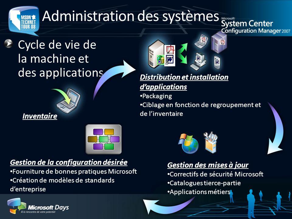 Administration des systèmes Cycle de vie de la machine et des applications Distribution et installation dapplications Packaging Ciblage en fonction de