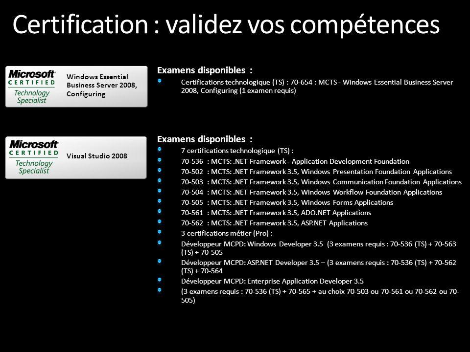 Certification : validez vos compétences Examens disponibles : 7 certifications technologique (TS) : 70-536 : MCTS:.NET Framework - Application Develop