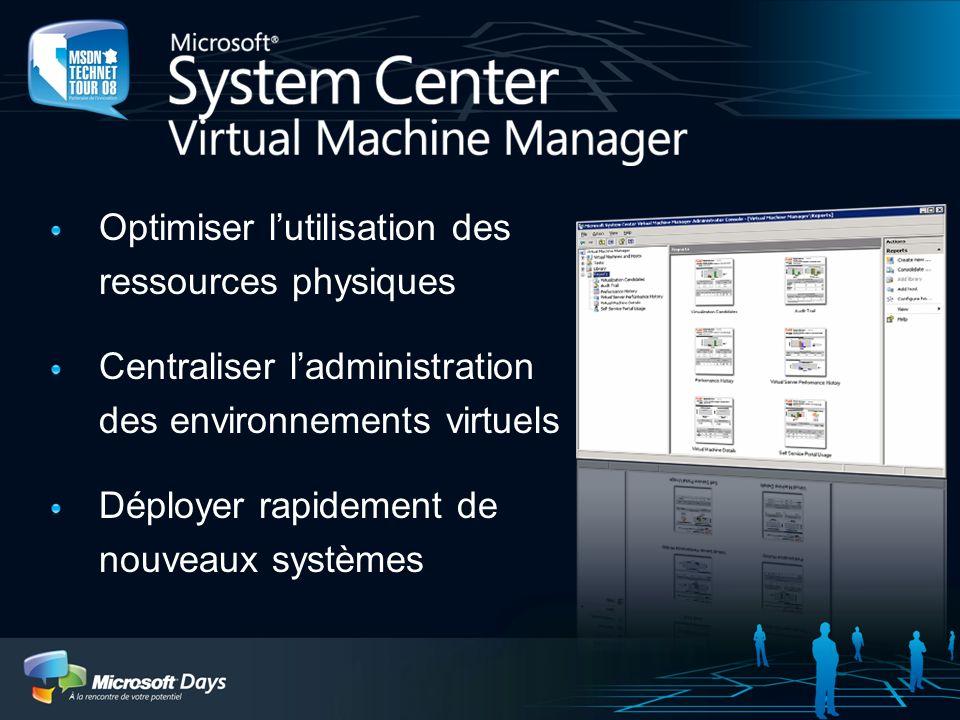 Optimiser lutilisation des ressources physiques Centraliser ladministration des environnements virtuels Déployer rapidement de nouveaux systèmes