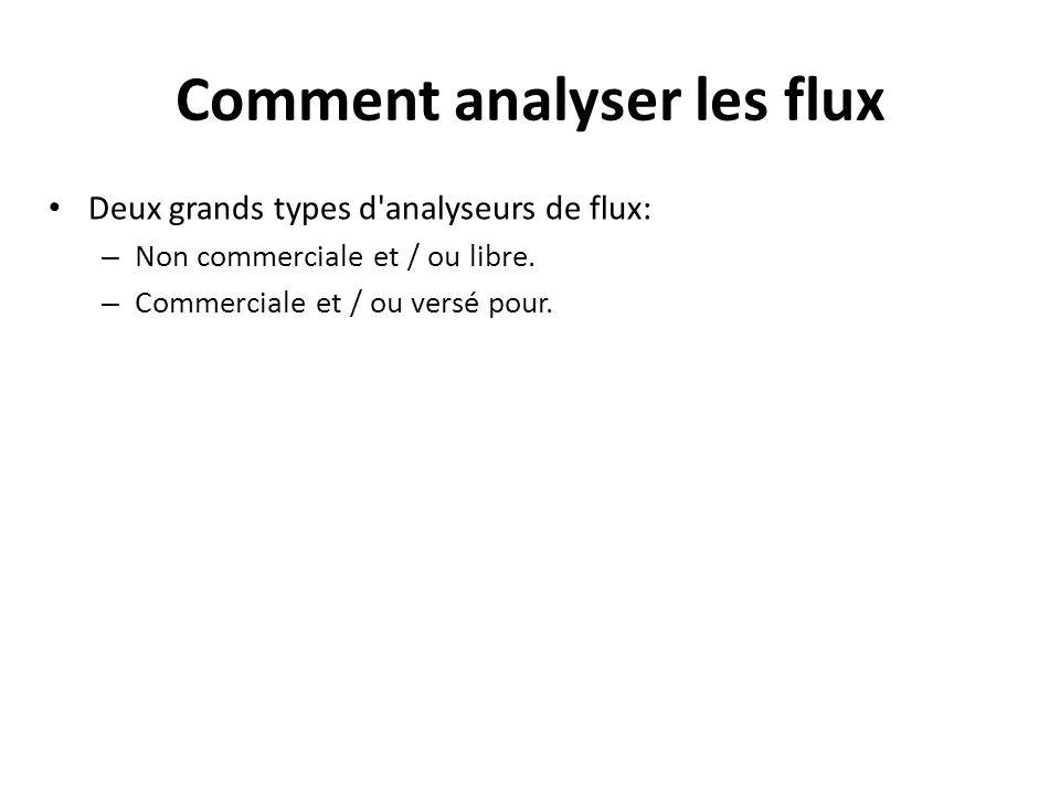 Comment analyser les flux Deux grands types d'analyseurs de flux: – Non commerciale et / ou libre. – Commerciale et / ou versé pour.