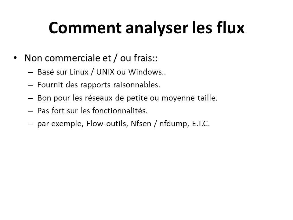Comment analyser les flux Non commerciale et / ou frais:: – Basé sur Linux / UNIX ou Windows.. – Fournit des rapports raisonnables. – Bon pour les rés