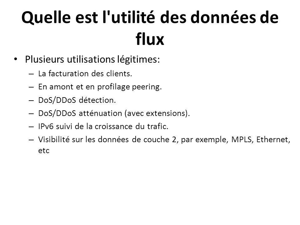 Plusieurs utilisations légitimes: – La facturation des clients. – En amont et en profilage peering. – DoS/DDoS détection. – DoS/DDoS atténuation (avec
