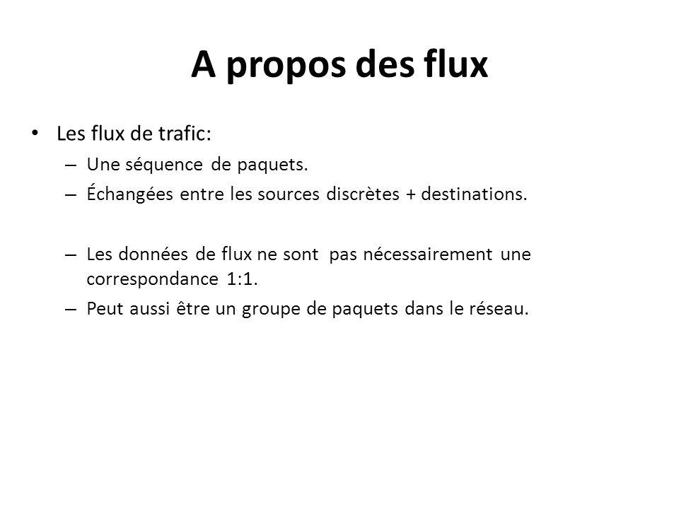 Les flux de trafic: – Une séquence de paquets. – Échangées entre les sources discrètes + destinations. – Les données de flux ne sont pas nécessairemen