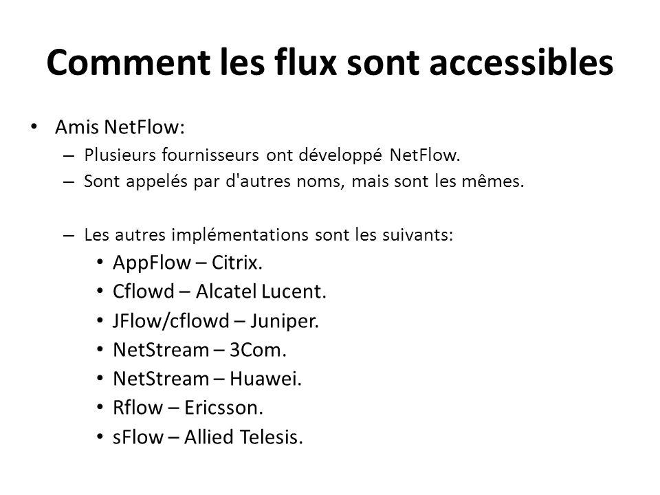 Comment les flux sont accessibles Amis NetFlow: – Plusieurs fournisseurs ont développé NetFlow. – Sont appelés par d'autres noms, mais sont les mêmes.
