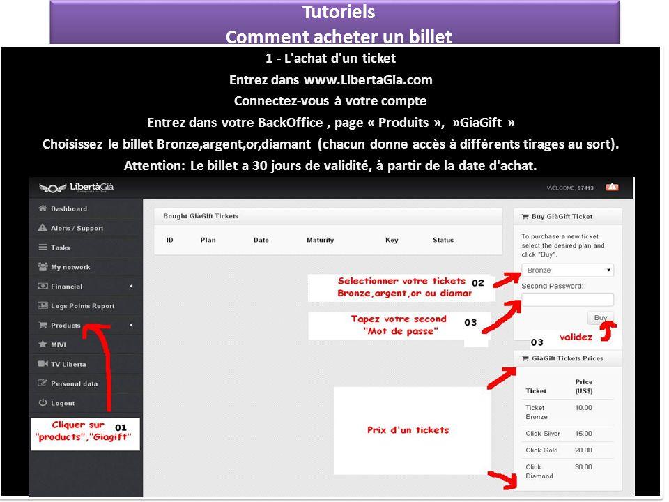 Tutoriels Comment acheter un billet 1 - L'achat d'un ticket Entrez dans www.LibertaGia.com Connectez-vous à votre compte Entrez dans votre BackOffice,