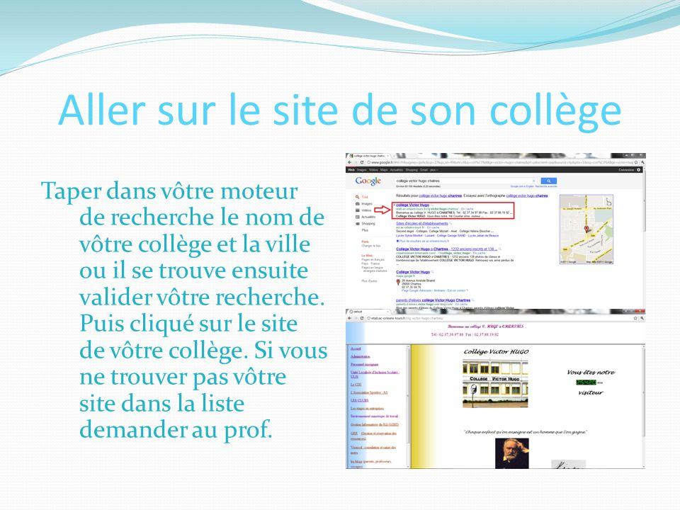 Aller sur le site de son collège Taper dans vôtre moteur de recherche le nom de vôtre collège et la ville ou il se trouve ensuite valider vôtre recherche.