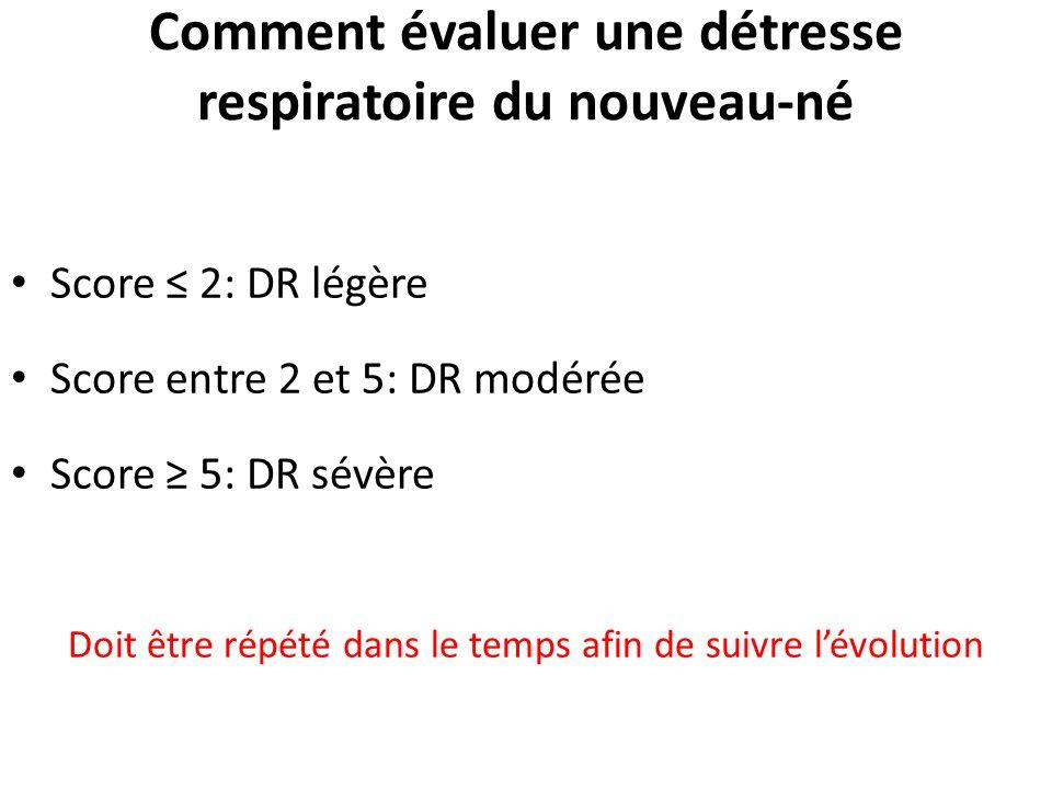 Comment évaluer une détresse respiratoire du nouveau-né Score 2: DR légère Score entre 2 et 5: DR modérée Score 5: DR sévère Doit être répété dans le