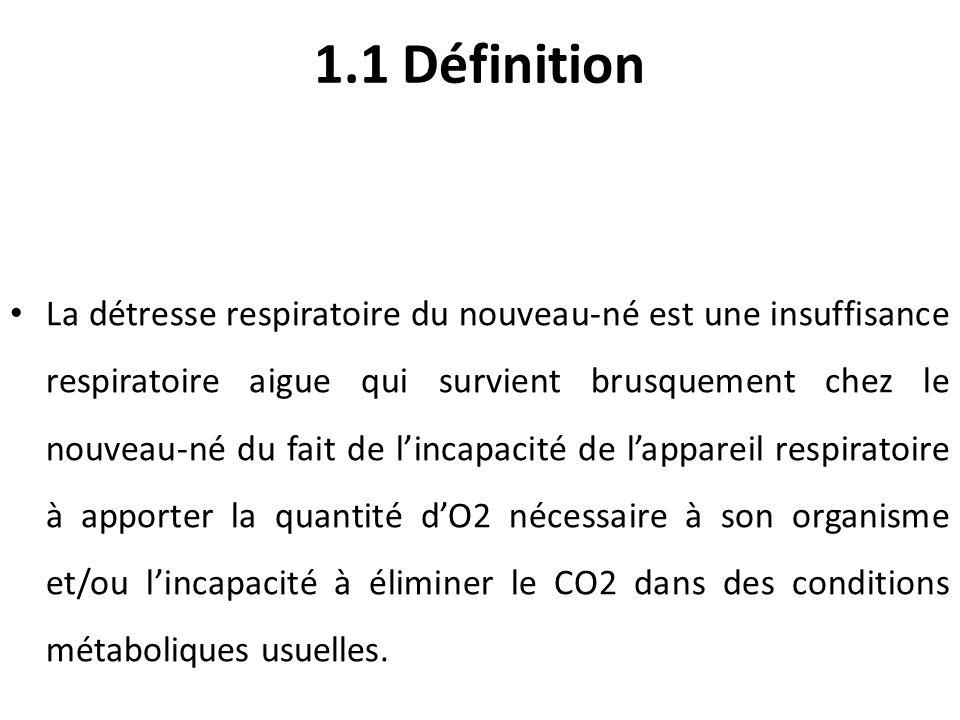 1.1 Définition La détresse respiratoire du nouveau-né est une insuffisance respiratoire aigue qui survient brusquement chez le nouveau-né du fait de l