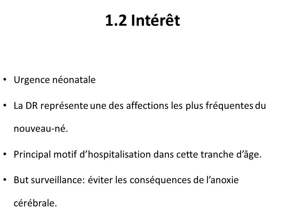 1.2 Intérêt Urgence néonatale La DR représente une des affections les plus fréquentes du nouveau-né. Principal motif dhospitalisation dans cette tranc