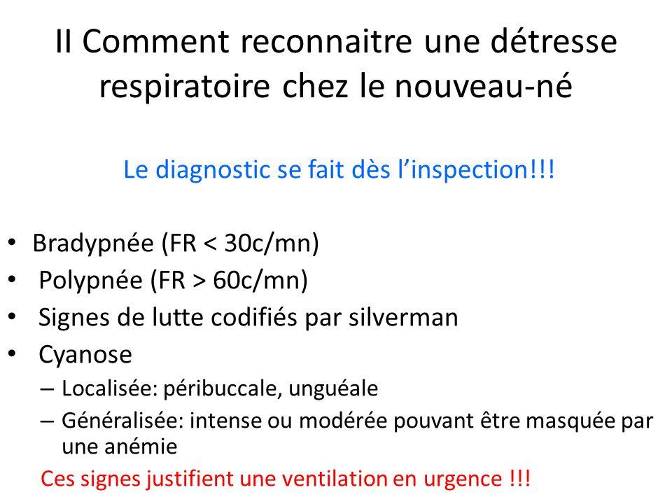 II Comment reconnaitre une détresse respiratoire chez le nouveau-né Le diagnostic se fait dès linspection!!! Bradypnée (FR < 30c/mn) Polypnée (FR > 60