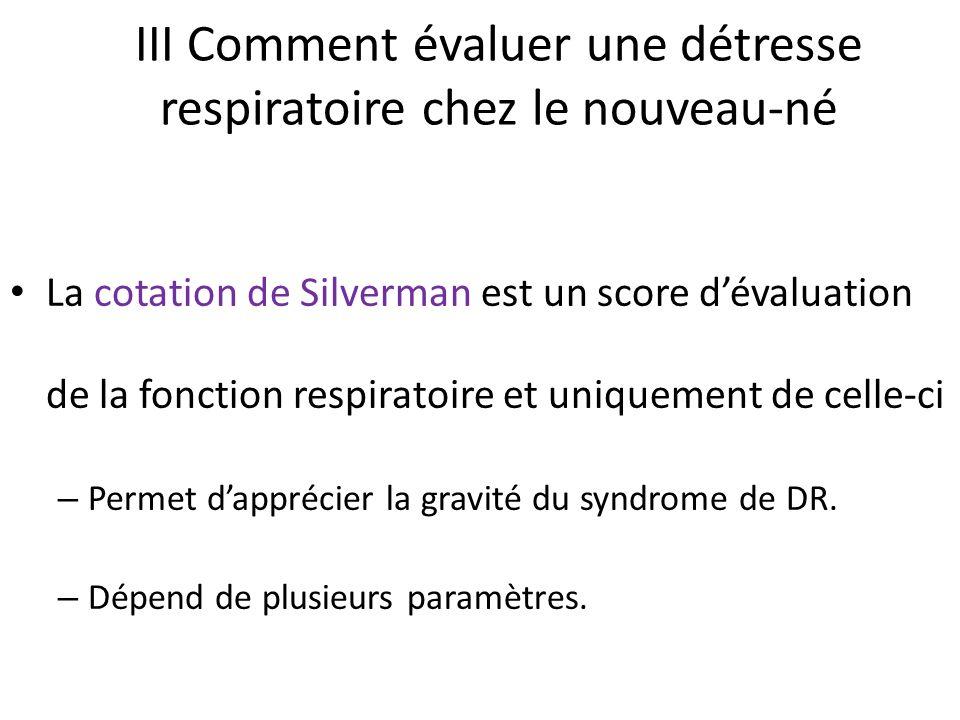 III Comment évaluer une détresse respiratoire chez le nouveau-né La cotation de Silverman est un score dévaluation de la fonction respiratoire et uniq