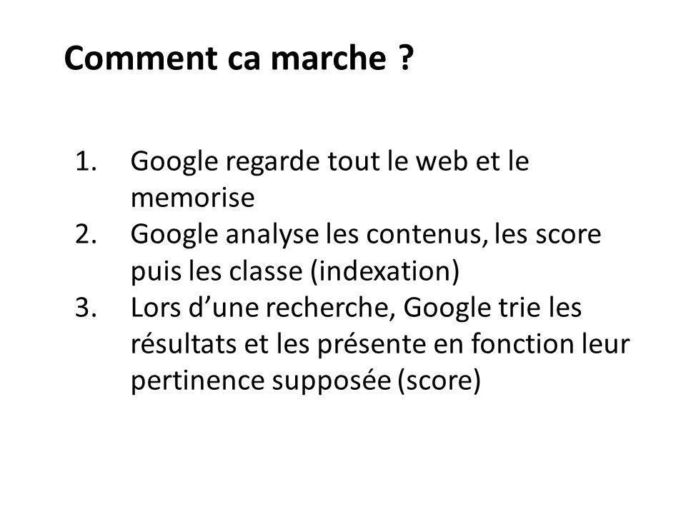 Comment ca marche ? 1.Google regarde tout le web et le memorise 2.Google analyse les contenus, les score puis les classe (indexation) 3.Lors dune rech