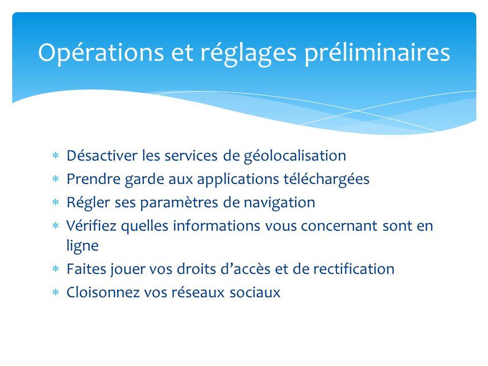 Désactiver les services de géolocalisation Prendre garde aux applications téléchargées Régler ses paramètres de navigation Vérifiez quelles informatio