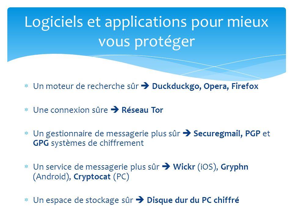 Un moteur de recherche sûr Duckduckgo, Opera, Firefox Une connexion sûre Réseau Tor Un gestionnaire de messagerie plus sûr Securegmail, PGP et GPG sys