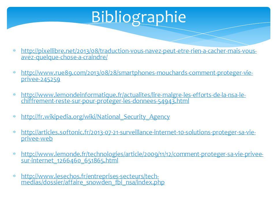 Bibliographie http://pixellibre.net/2013/08/traduction-vous-navez-peut-etre-rien-a-cacher-mais-vous- avez-quelque-chose-a-craindre/ http://pixellibre.