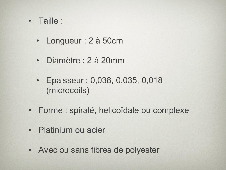 Taille : Longueur : 2 à 50cm Diamètre : 2 à 20mm Epaisseur : 0,038, 0,035, 0,018 (microcoils) Forme : spiralé, helicoïdale ou complexe Platinium ou ac