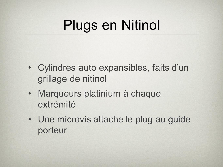 Cylindres auto expansibles, faits dun grillage de nitinol Marqueurs platinium à chaque extrémité Une microvis attache le plug au guide porteur Plugs e