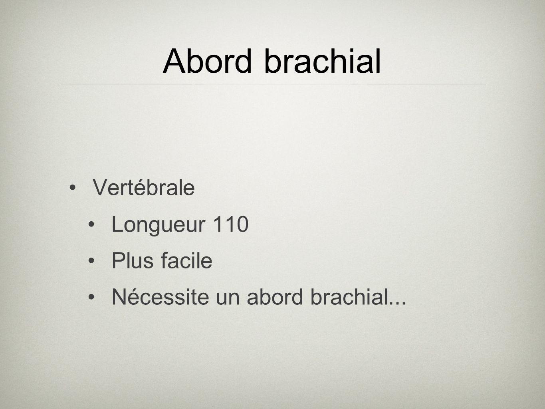 Abord brachial Vertébrale Longueur 110 Plus facile Nécessite un abord brachial...