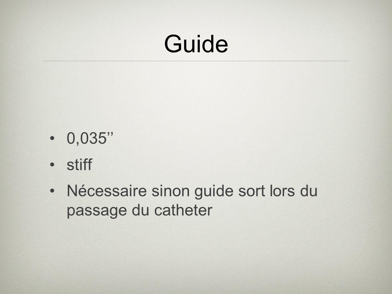 Guide 0,035 stiff Nécessaire sinon guide sort lors du passage du catheter