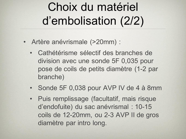 Choix du matériel dembolisation (2/2) Artère anévrismale (>20mm) : Cathétérisme sélectif des branches de division avec une sonde 5F 0,035 pour pose de