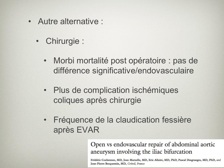 Autre alternative : Chirurgie : Morbi mortalité post opératoire : pas de différence significative/endovasculaire Plus de complication ischémiques coli