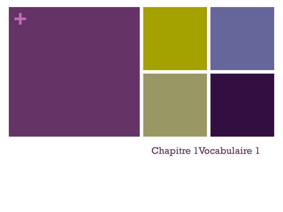 + Chapitre 1Vocabulaire 1