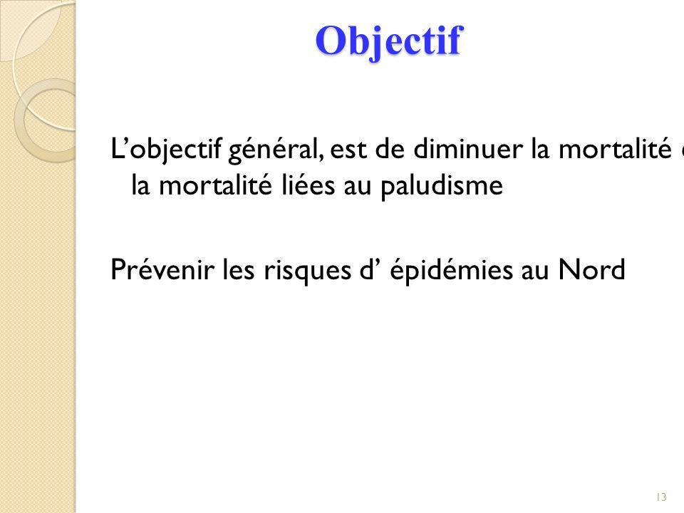 Objectif Lobjectif général, est de diminuer la mortalité et la mortalité liées au paludisme Prévenir les risques d épidémies au Nord 13