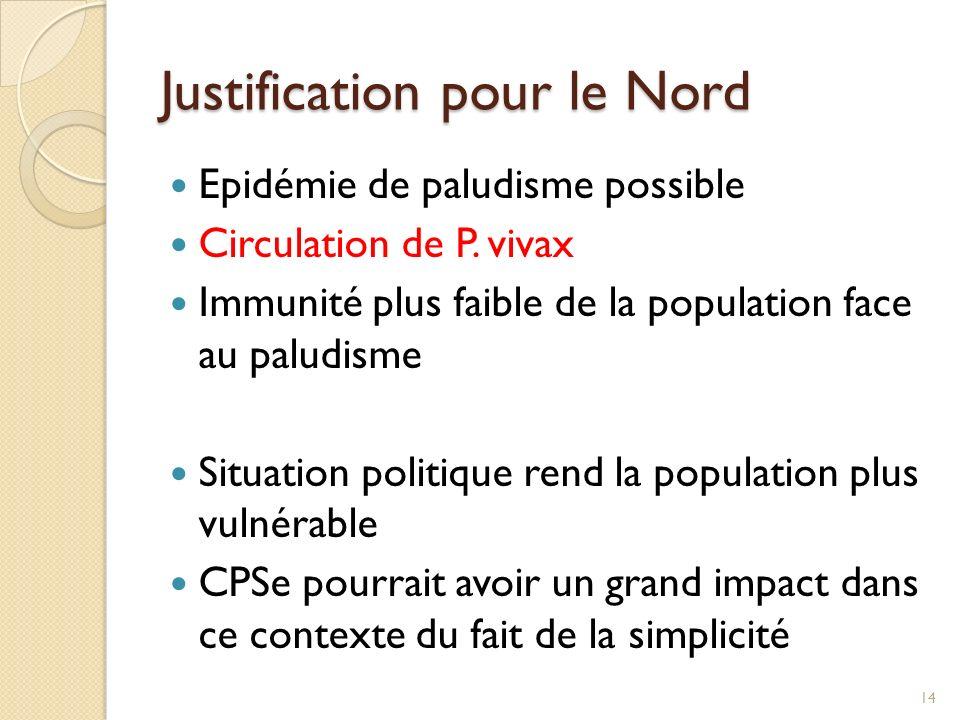 Justification pour le Nord Epidémie de paludisme possible Circulation de P. vivax Immunité plus faible de la population face au paludisme Situation po