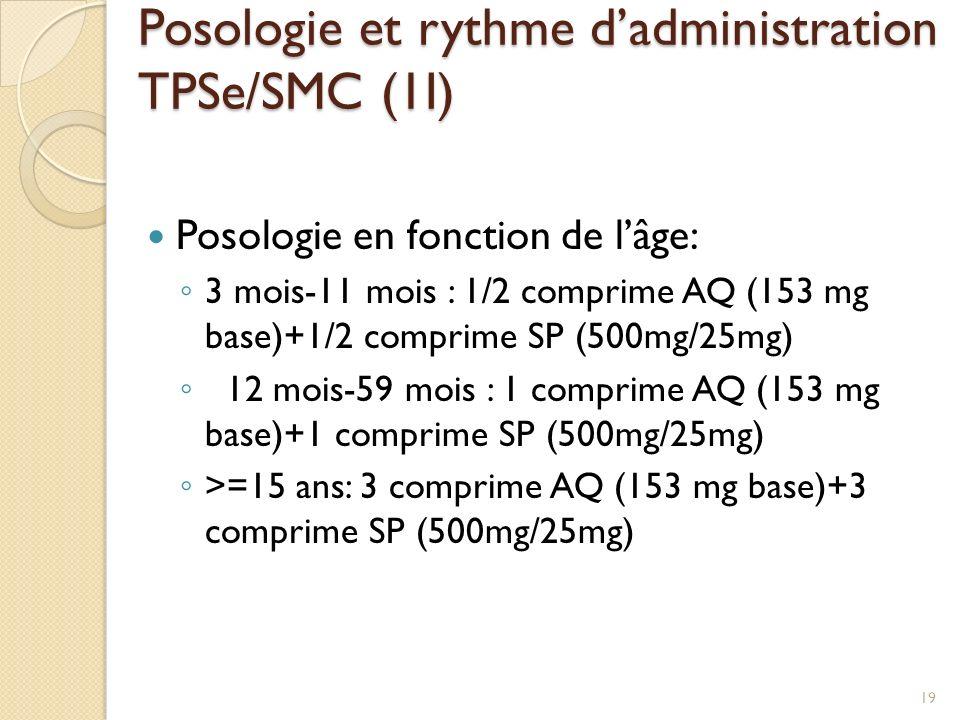 Posologie en fonction de lâge: 3 mois-11 mois : 1/2 comprime AQ (153 mg base)+1/2 comprime SP (500mg/25mg) 12 mois-59 mois : 1 comprime AQ (153 mg base)+1 comprime SP (500mg/25mg) >=15 ans: 3 comprime AQ (153 mg base)+3 comprime SP (500mg/25mg) Posologie et rythme dadministration TPSe/SMC (1I) 19