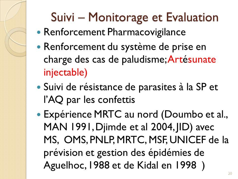 Suivi – Monitorage et Evaluation Renforcement Pharmacovigilance Renforcement du système de prise en charge des cas de paludisme; Artésunate injectable) Suivi de résistance de parasites à la SP et lAQ par les confettis Expérience MRTC au nord (Doumbo et al., MAN 1991, Djimde et al 2004, JID) avec MS, OMS, PNLP, MRTC, MSF, UNICEF de la prévision et gestion des épidémies de Aguelhoc, 1988 et de Kidal en 1998 ) 20