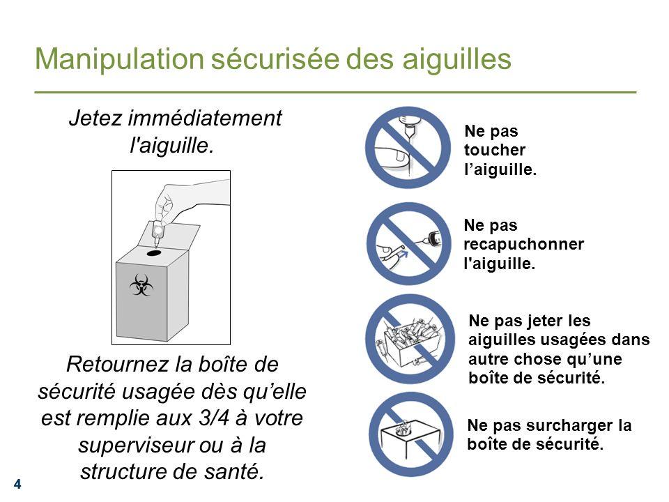 444 Manipulation sécurisée des aiguilles Jetez immédiatement l'aiguille. Retournez la boîte de sécurité usagée dès quelle est remplie aux 3/4 à votre