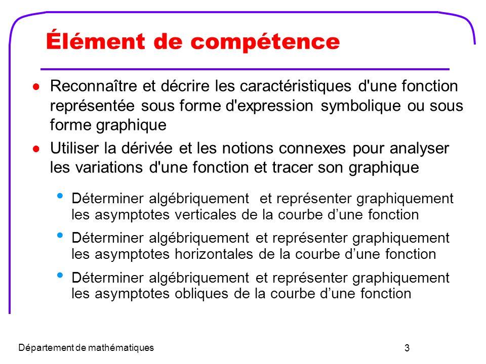 4 Définition dasymptote Une asymptote est une droite dont la distance aux points dune courbe tend vers zéro lorsquon séloigne sur la courbe à linfini.