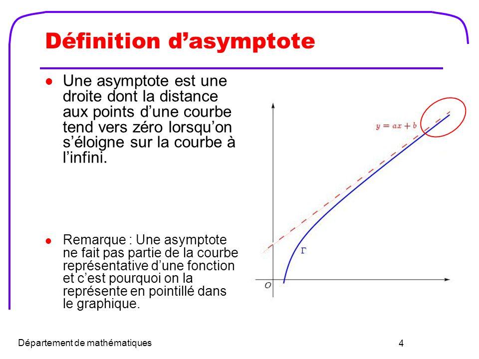 5 Asymptote verticale La droite x = a est une asymptote verticale (AV) de la courbe de f(x) si et seulement si Remarque : Pour localiser les AV, on cherche les valeurs qui annulent le dénominateur ou qui rendent la fonction infinie.