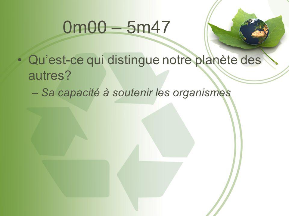 0m00 – 5m47 Quest-ce qui distingue notre planète des autres –Sa capacité à soutenir les organismes