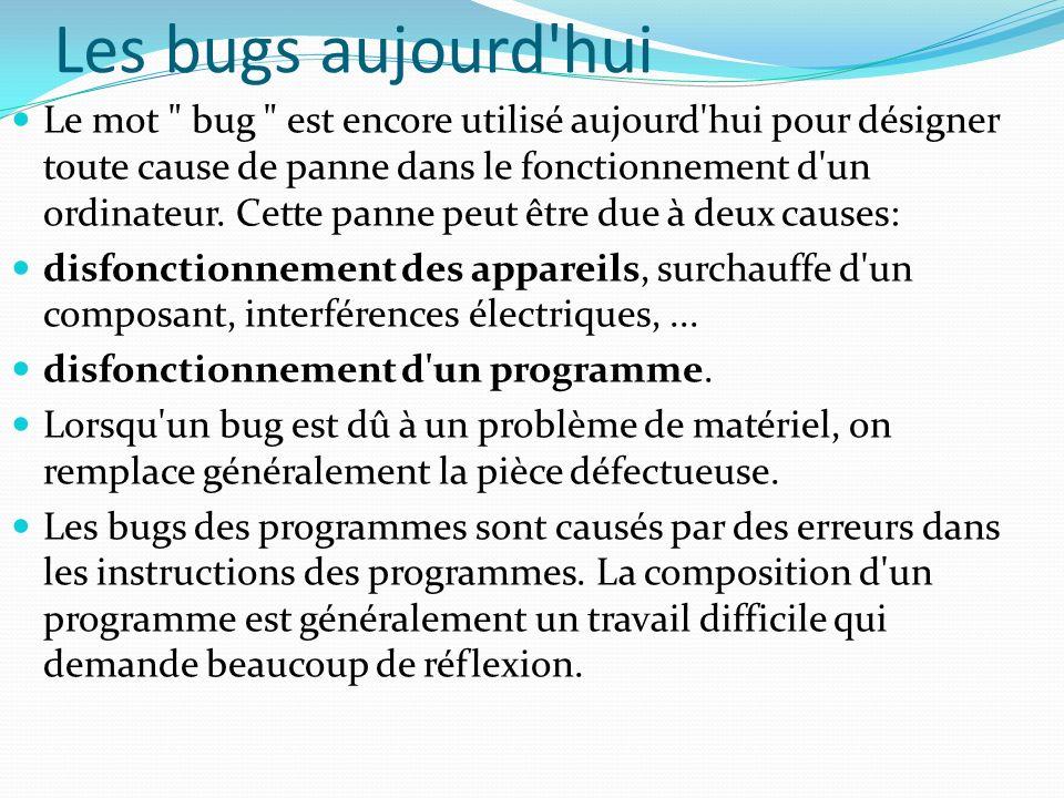 Les bugs aujourd'hui Le mot