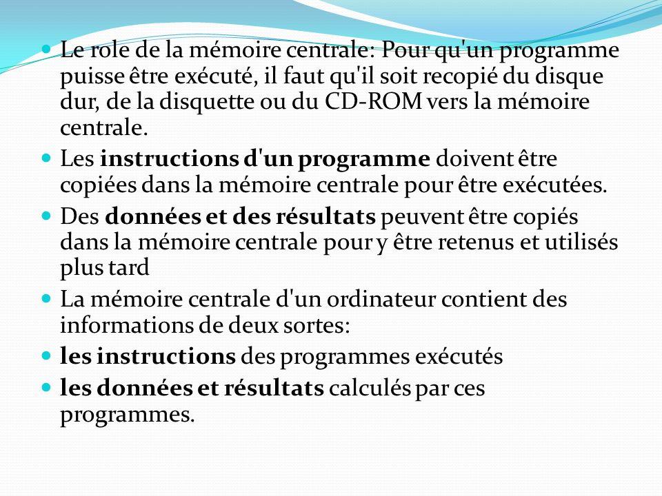 Le role de la mémoire centrale: Pour qu'un programme puisse être exécuté, il faut qu'il soit recopié du disque dur, de la disquette ou du CD-ROM vers