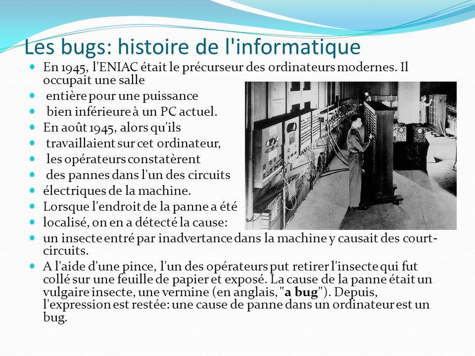 Les bugs: histoire de l'informatique En 1945, l'ENIAC était le précurseur des ordinateurs modernes. Il occupait une salle entière pour une puissance b