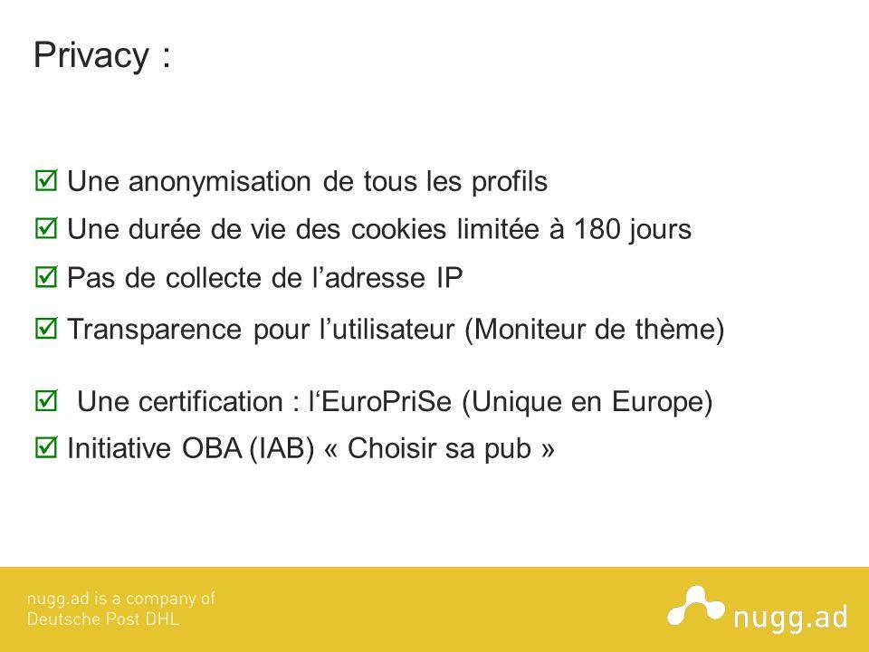 Privacy : Une anonymisation de tous les profils Une certification : lEuroPriSe (Unique en Europe) Une durée de vie des cookies limitée à 180 jours Pas