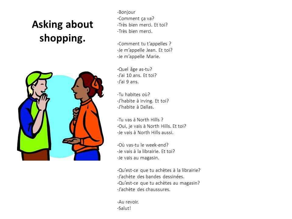 Asking about shopping. -Bonjour -Comment ça va? -Très bien merci. Et toi? -Très bien merci. -Comment tu tappelles ? -Je mappelle Jean. Et toi? -Je map