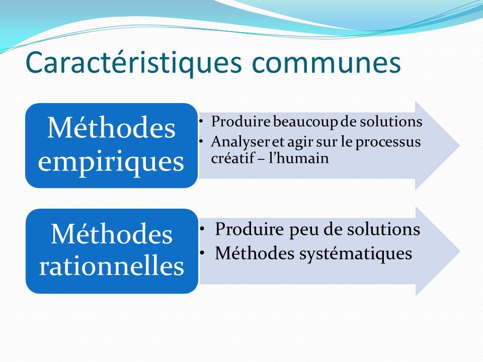 Caractéristiques communes Produire beaucoup de solutions Analyser et agir sur le processus créatif – lhumain Méthodes empiriques Produire peu de solut