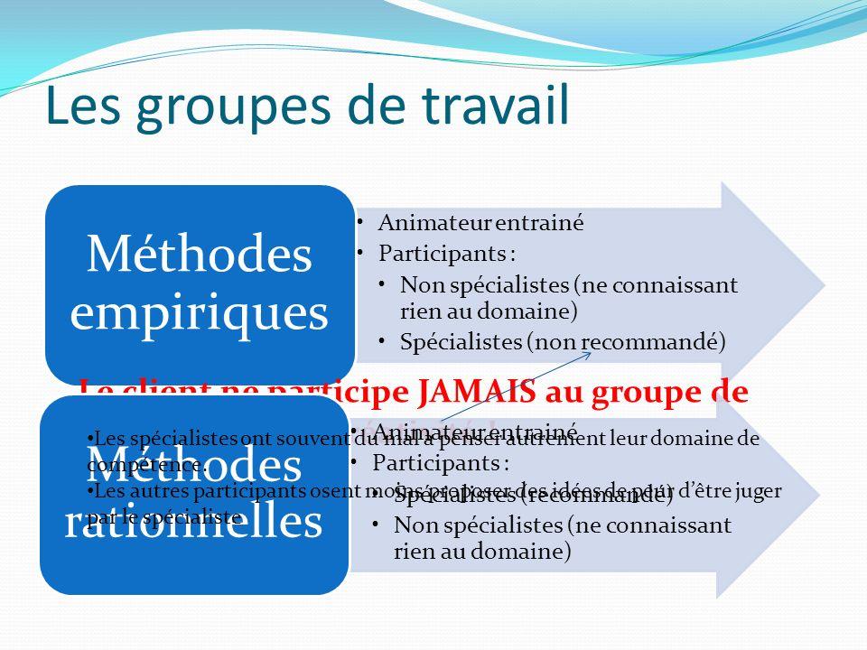 Les groupes de travail Animateur entrainé Participants : Non spécialistes (ne connaissant rien au domaine) Spécialistes (non recommandé) Méthodes empi